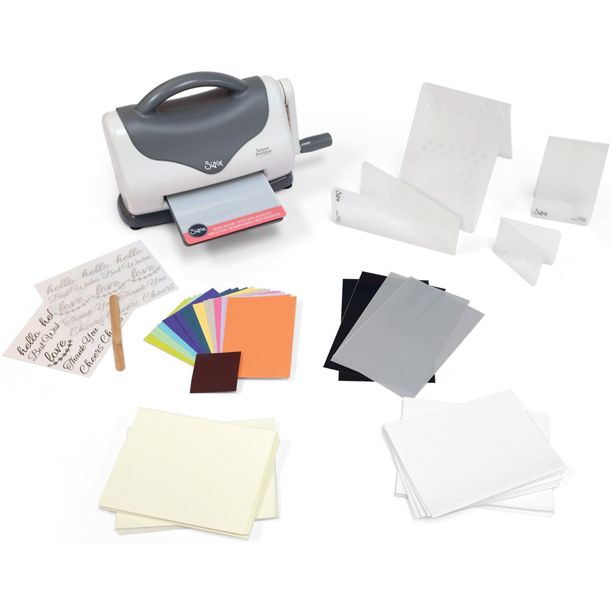 Sizzix Texture Boutique Starter Kit Manual Machine and Pair Pads Mylar Shim 4 1//2 in 11.43 cm Embossing Folders Cardstock and More Opening