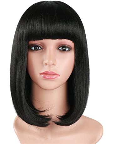 fani Negro Bob peluca corta 14 pulgadas plana flequillo Longitud del hombro Seda sintética suave Color