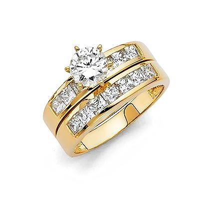 Amazon.com: Anillo de compromiso y banda de boda de oro ...