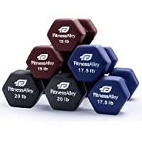 Fitness Alley Neoprene Dumbbell, Coated for Non Slip Grip - Hex Dumbbells Weight Set - Neoprene Hand Weight Pairs - Hex Hand Weights Neoprene Dumbbells Combos