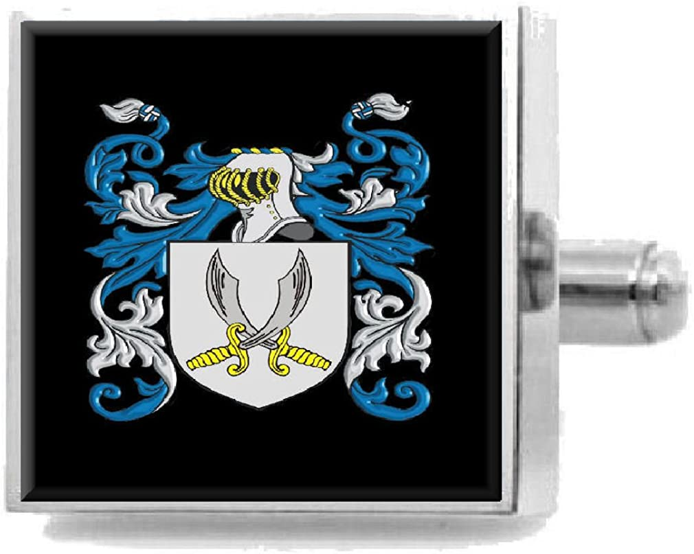 Select Gifts Jewers England Heraldry Crest Sterling Silver Cufflinks Engraved Message Box