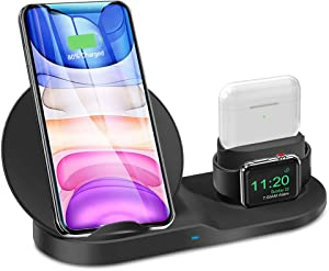 3 in 1 Wireless Charger Station for iPhone 12/11 Series/Xs/XS Max/XR/X/8/8P Qi Fast Wireless Charger Stand Pad for AirPods, Watch Wireless Charging Stand Dock Station for iWatch 1/2/3/4/5