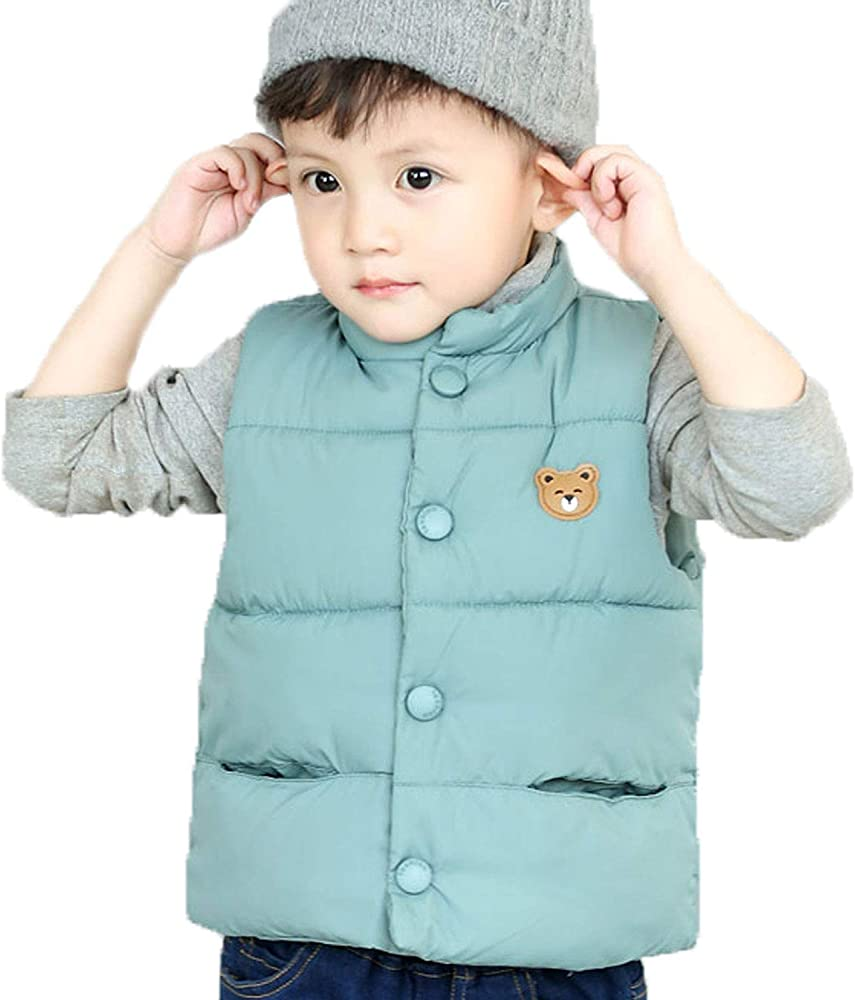 LANBAOSI Baby Girls/&Boys Winter Cute High Neck Vest Lightweight Puffer Sleeveless Jacket