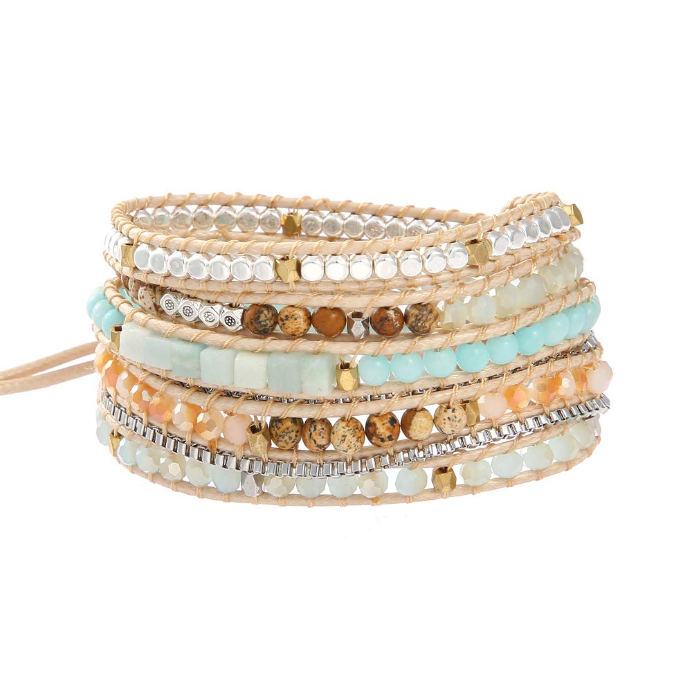 IUNIQUEEN Women Boho 5 Wraps Handmade Beaded Statement Stainless Steel Box Chain Bracelet Jewelry by Plumiss