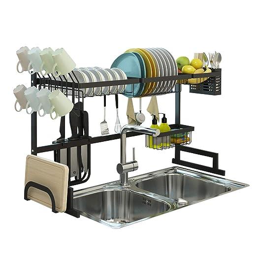 Amazon.com: Estante para secar platos sobre fregadero ...
