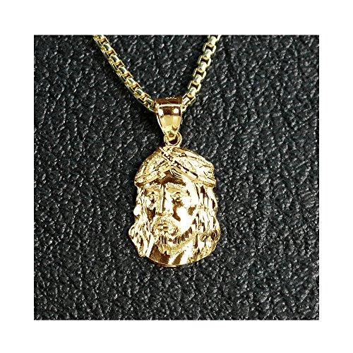LoveBling 10K Yellow Gold Mini Jesus Head Face Charm Religious Pendant (1.25