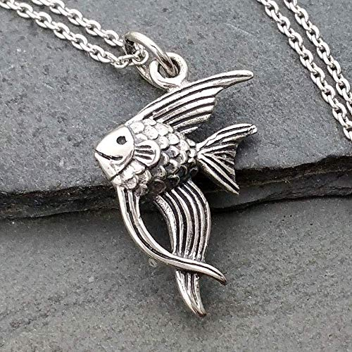 (Angelfish Charm Necklace - 925 Sterling Silver, 18