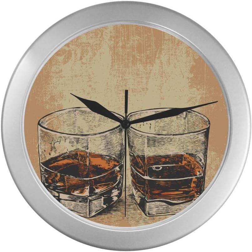 QIAOLII Reloj de Pared para Dormitorio Whisky Dos Vasos ...