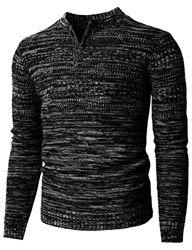 H2H Mens Casual Long Sleeve Henley Pullover Sweater Of Various Colors