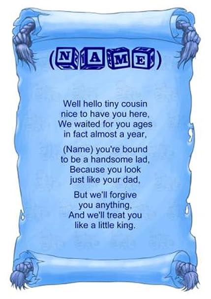 Personalised Poem Baby Boy Cousin Gift Print Amazoncouk