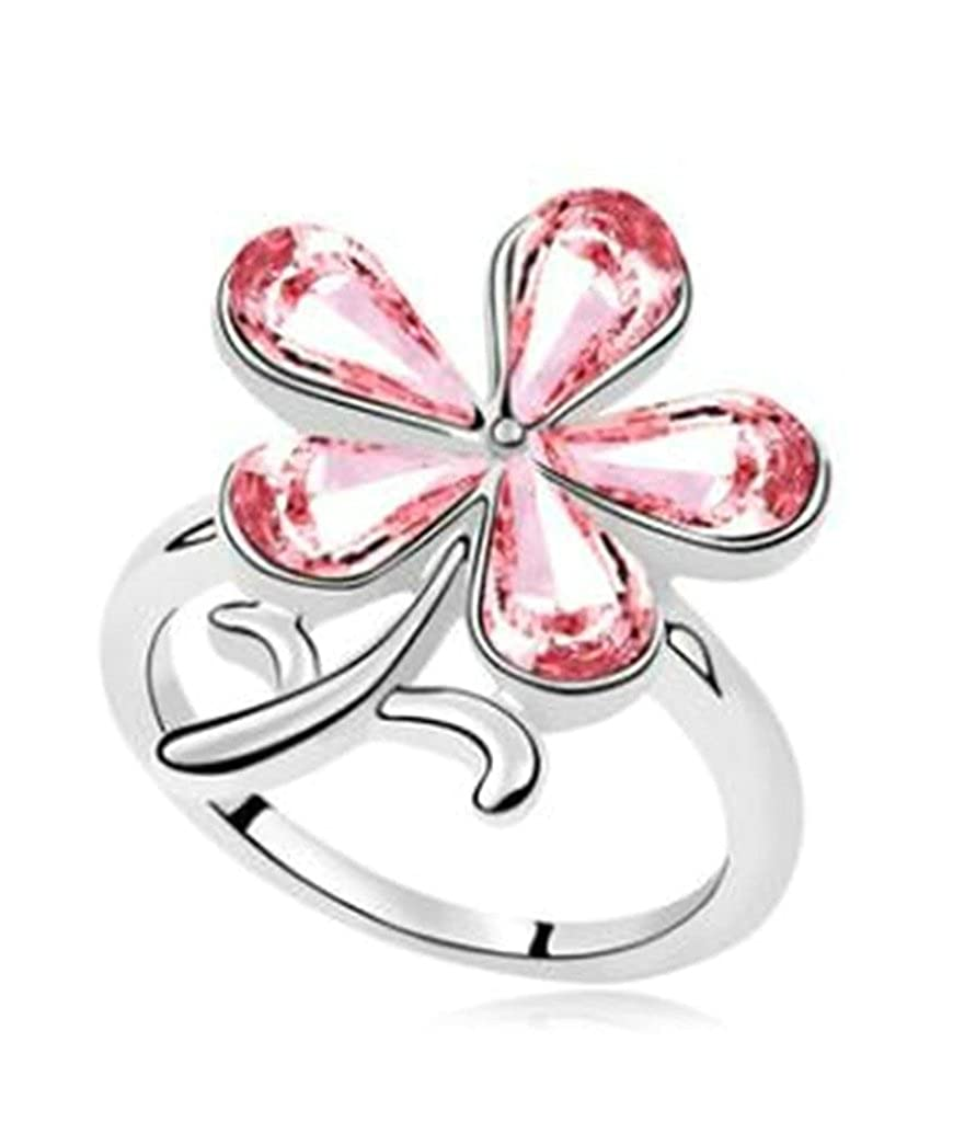 Gnzoe Womens Stainless Steel Flower Cubic Zirconia Rose Red Annniversary Wedding Bands