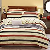"KFZBeddingSetDuvetCoverFlatSheetPillowcaseNoComforter4pcs/SetCQTwinFullQueenKingStar Lattice Colored Squares Design AdultKids (Color Stripes,Multi, Queen, 79""x91"")"