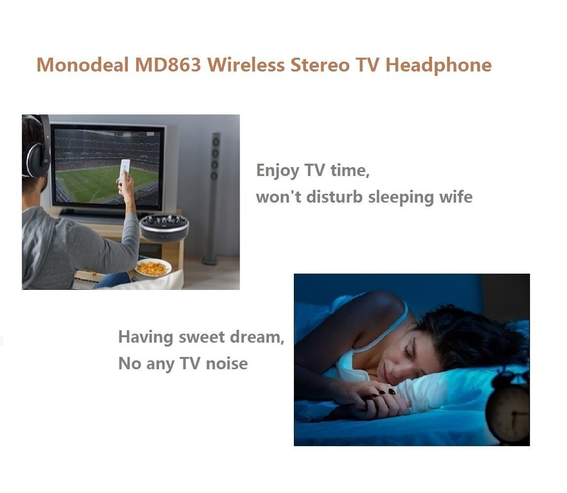 Wireless Universal TV Headphones, Monodeal Over-Ear Stereo RF Headphones with Charging Dock, Low Latency Volume Adjustable for Gaming TV PC Mobile, 25hr Battery Sound -1 Year Warranty by MONODEAL (Image #4)