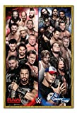 WWE Raw V Smackdown Poster Oak Framed & Satin Matt Laminated - 96.5 x 66 cms (Approx 38 x 26 inches)