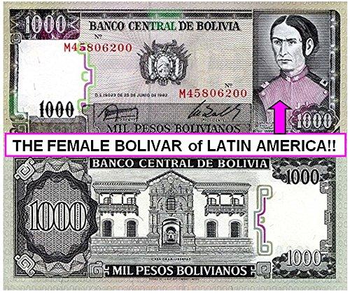 (1982 BO SCARCE 1982 BOLIVA 1000 PESOS w LEGENDARY FEMALE REVOLUTIONARY! UNCIRCULATED 1000 Pesos Choice AU-CU)