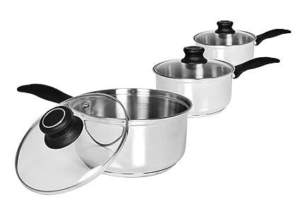 Zodiac 3-bh cocinar y comer cacerola de acero inoxidable Set 14 cm/16 cm/18 cm (Pack de 3)