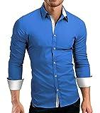 CUSON Men Casual Dress Shirt Cotton Slim Fit Long