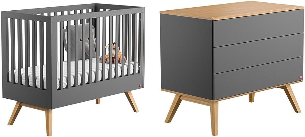 Vox Nature - Cuna 60 x 120 cm y cómoda cambiador – Gris: Amazon.es: Bebé