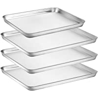 Baking Sheet Pan for Toaster Oven, Stainless Steel Baking Pans Small Metal Cookie Sheets by Umite Chef, Superior Mirror Finish Easy Clean