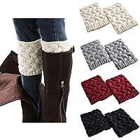 FAYBOX Short Women Crochet Boot Cuffs Winter Cable Knit Leg Warmers