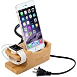 ZeroElec 15W 3A 3-Port USB Bamboo Wood Charging Station with Apple Watch Stand for Smartphones