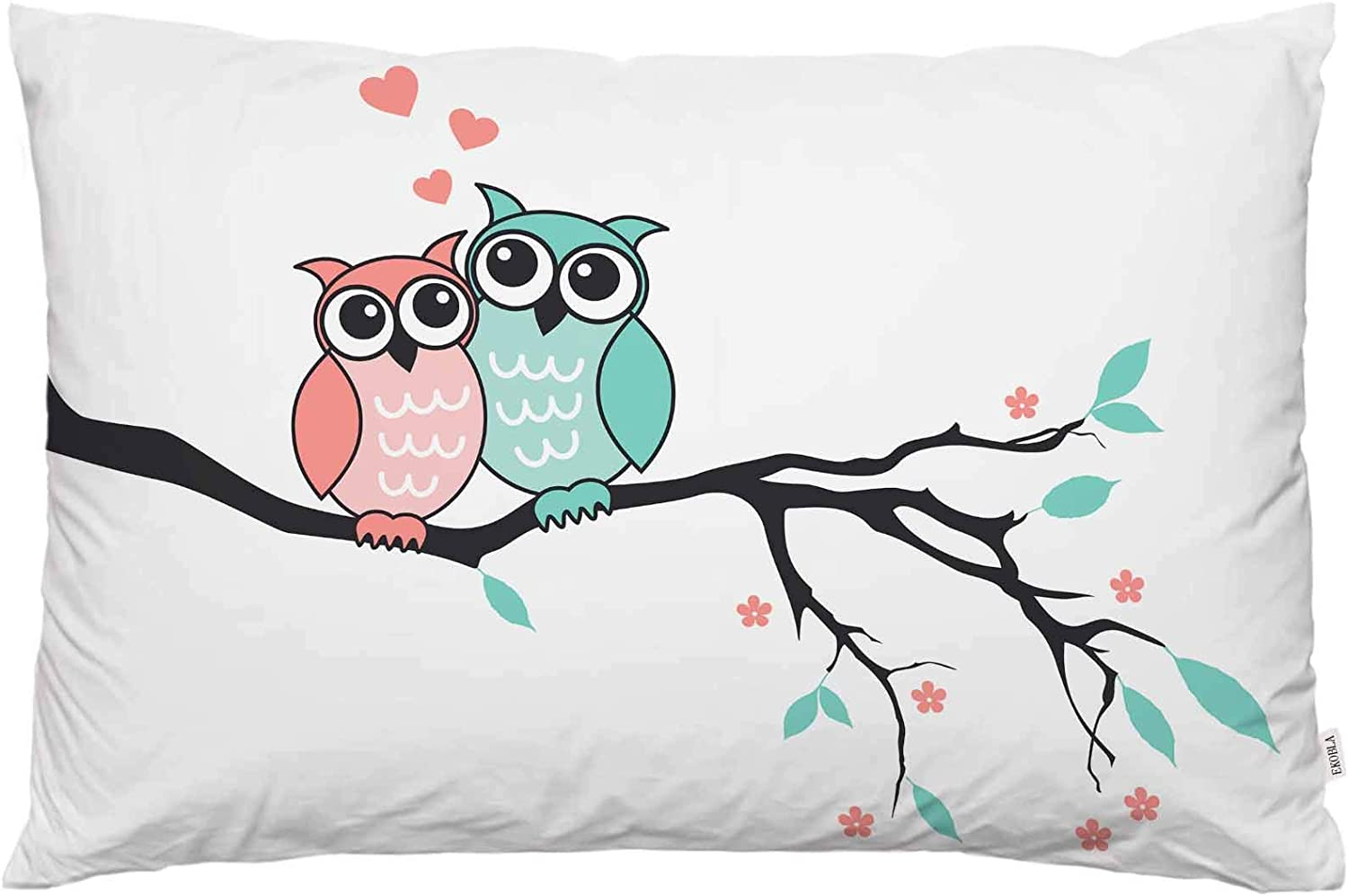 EKOBLA Throw Pillow Cover Owl Animal Cute Owls On Branch Tree Love Heart Abstract Art Flowers Leaves Big Eyes Wild Decor Lumbar Pillow Case Cushion for Sofa Couch Bed Standard Queen Size 20x30 Inch