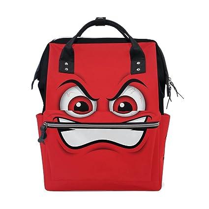 COOSUN Emoji Red Mad Emoticon del pañal de dibujos animados Cambiar la bolsa de pañales Mochila