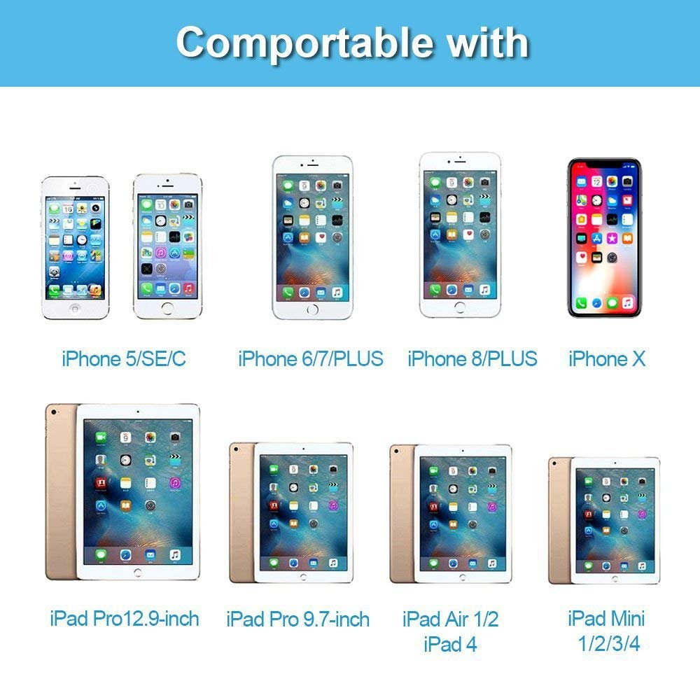 official photos cc6e3 83e0a HDMI Adapter for Phone, Compatible with iPhone 5/6/7/8/X/iPad/iPod HDMI  Adapter(Compatible with IOS 12 Before & After, No App Need)