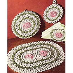 Vintage Crochet PATTERN to make - Irish Rose Hot Plate Pad Pot Holder. NOT a finished item. This is a pattern and/or instructions to make the item only.
