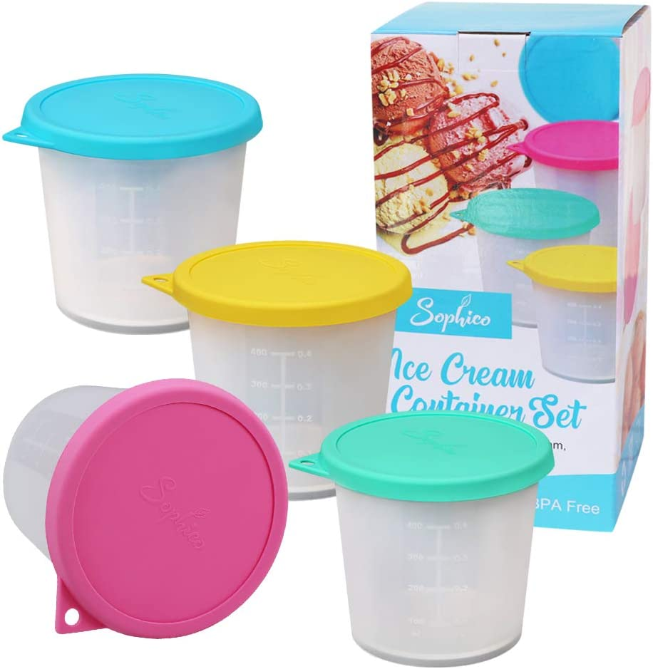 Sophico Ice Cream Freezer Storage Container, with Silicone Lids for Ice Cream Perfect for Food Storage Tub, Meal Prep, Soup and Food Storage (4 Pack, MIX)