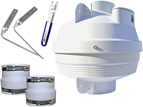 Suncourt Radon Fan Mitigation Kit, Centrax Inline Centrifugal Fan, 4 Inch to 4 Inch Rubber Couplers