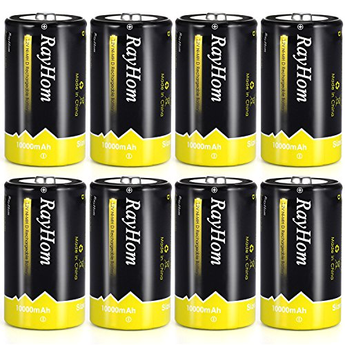 RayHom DBatteriesRechargeable 10,000mAhNi-MHHighCapacity Battery (8 Pack)