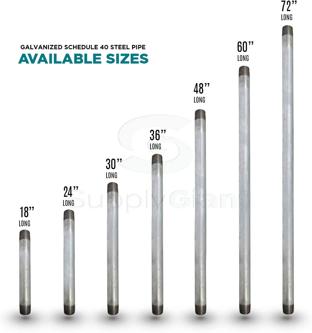 Everflow Supplies PCGL1248 48 Long Pre-Cut Galvanized Pipe with 1//2 Nominal Size Diameter