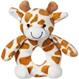Apricot Lamb Baby Lovey Giraffe Soft Ring Rattle Toy, Plush Stuffed Animal for Newborn Soft Hand Grip Shaker Over 0 Months (Y
