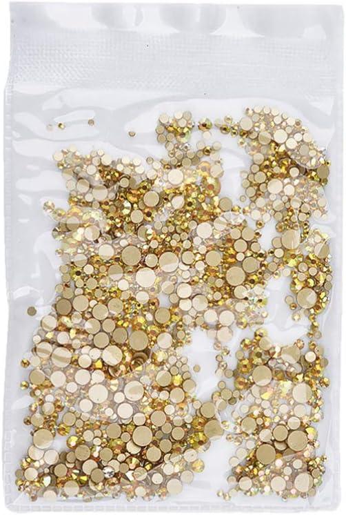 Minkissy 1440 Piezas de Pedrería de Diamantes de Imitación Surtidos Piedras de Gemas Planas Ab Cristales de Uñas para Bricolaje Artesanía Uñas Arte Maquillaje Ropa Zapatos (Dorado)