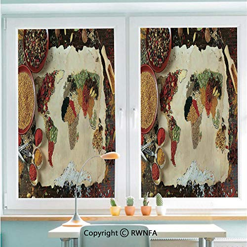 RWNFA Window Film Door Sticker Map of The World Made from Different Kinds of Spices Cuisine Stylized Art Print Boho Home Glass Film Both Suitable for Home and Office,22.8 x 35.4inch,Multi