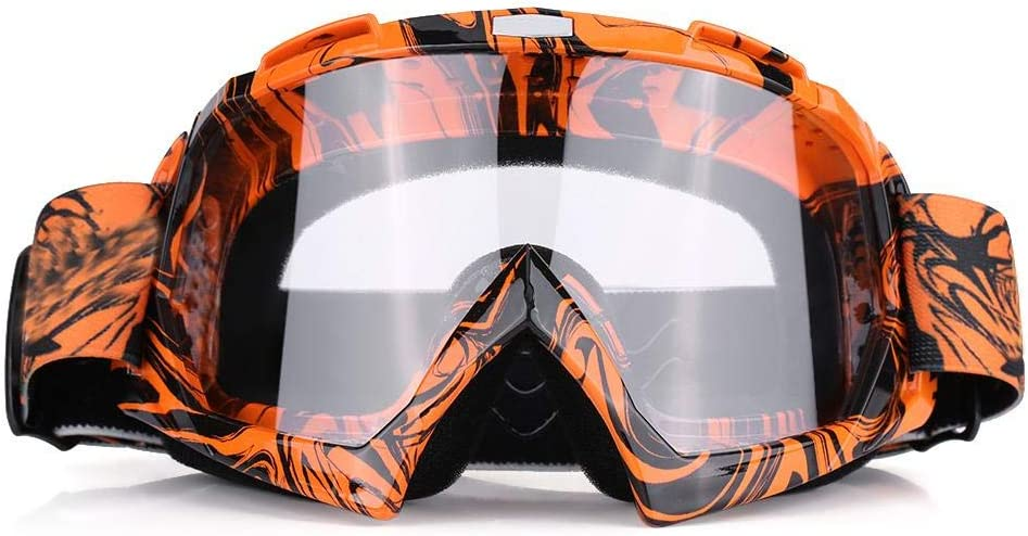 EVGATSAUTO Gafas de moto, Moto Motocross Off Road Dirt Bike Racing Gafas Gafas Protección de ojos(Marco naranja + lente transparente)