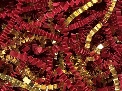 Pack of 1, Red & Gold Crinkle Cut Paper 40 Lb Spring-Fill Shred for Baskets, Basket Boxes, Bags, Containers & Nested Boxes by Generic