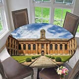 Round Polyester Tablecloth Table Cover Oxford University The Queen s College for Most Home Decor 31.5''-35.5'' Round (Elastic Edge)