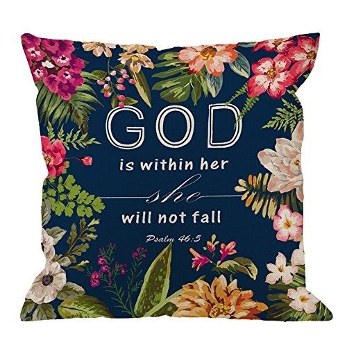 Flowers Pillow Covers - Christian Quotes Throw Pillow Case,Bible Verses God is Within Her She Will Not Fall Psalm 46 10 Cotton Linen Square Pillow Cover for Men/Women/18x18 inch