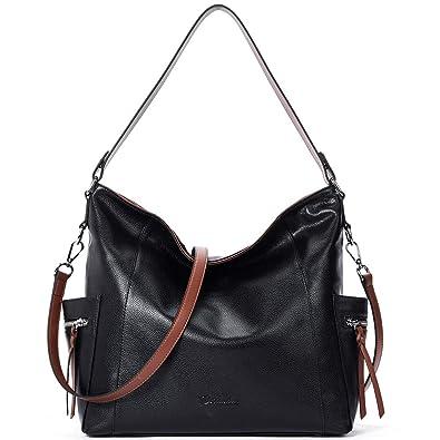 28ea187c48da BOSTANTEN Genuine Leather Hobo Handbags Designer Shoulder Tote Purses  Crossbody Large Bag for Women Black
