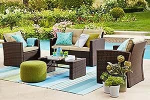 Thy hom roatan 4 piece outdoor wicker for Hom patio furniture