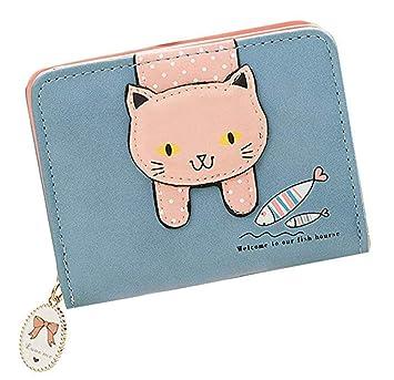 YaJaMa Lindo Gato Pequeño Cuero Carteras Billetera de Mujer Cremallera Monederos de Niña (Azul): Amazon.es: Equipaje