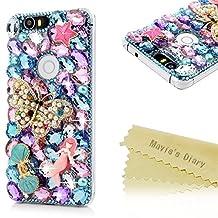 Nexus 6P Case,Mavis's Diary Luxury Bling Crystal 3D Handmade Colorful Rhinestone Full Diamonds Golden Butterfly Blue Shell Mermaid Shiny Gems Hard PC [Full Edge Protection] Cover for Google Nexus 6P