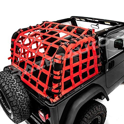 Razer Auto 2 Door Model Only Red Cargo Restraint Net System Trail Cargo Net (Red) for 97-06 Jeep Wrangler TJ