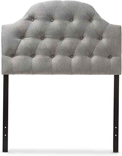 Baxton Studio Morris Modern and Contemporary Fabric Upholstered Button-Tufted Scalloped Headboard Grey/Twin - a good cheap modern headboard