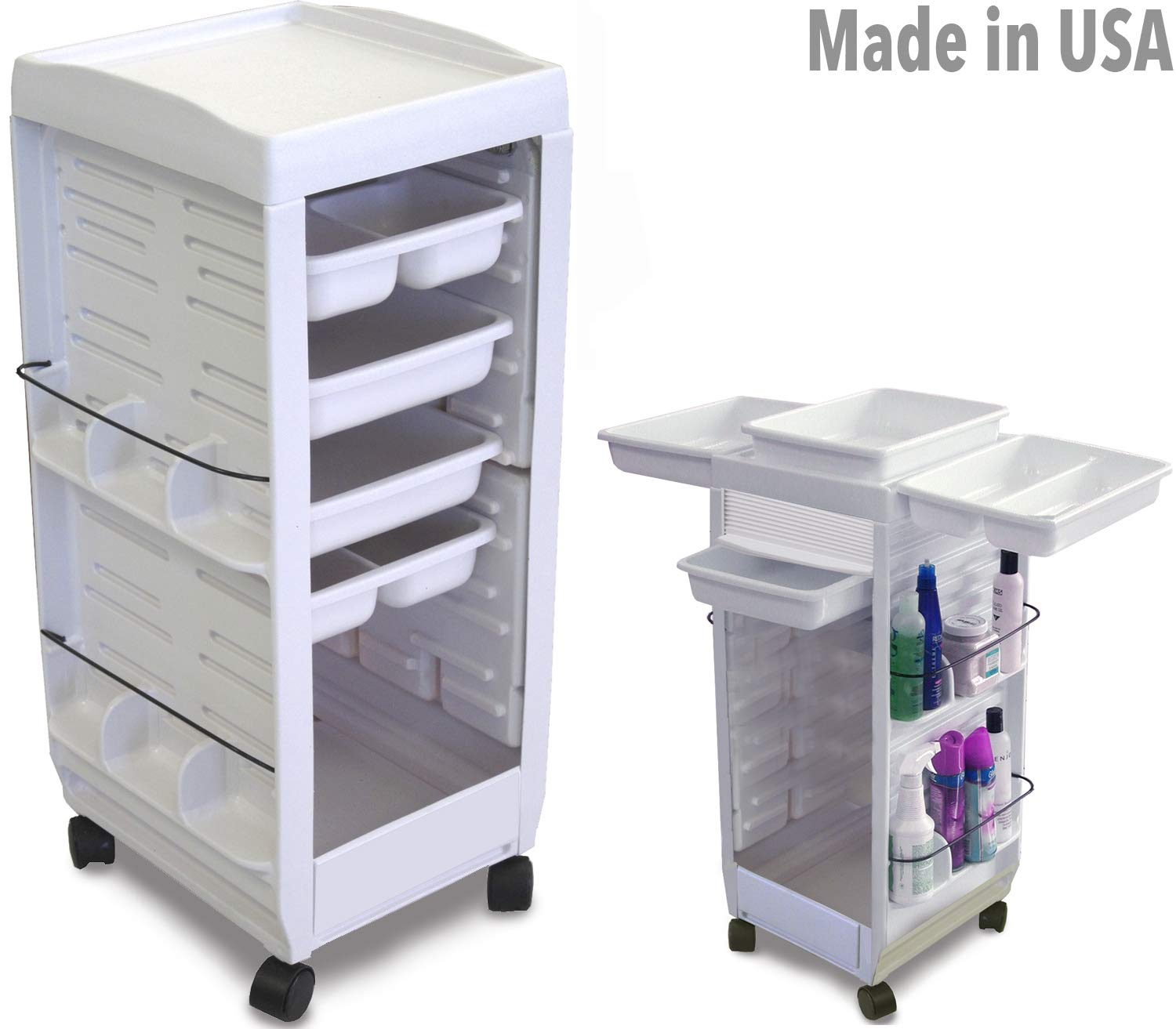 C113E-M Medical, Physician, Dentist Utility Roll-About Roller Cart Trolley Non Lockable White Made in USA by Dina Meri by Dina Meri