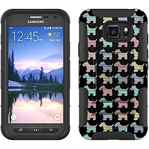 Samsung Galaxy S7 Active Armor Hybrid Case Chevron Vinatage Puppy Pattern on Black 2 Piece Case with Holster for Sales