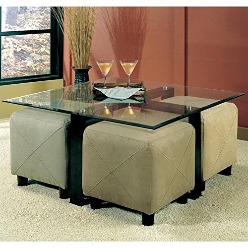 Coffee Table with Beveled Glass Top and Black Metal Frame - Glass Ottoman