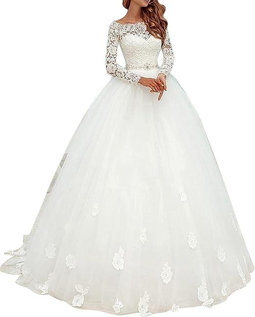 Tianshikeer Brautkleid Spitze Lang T/üll Hochzeitskleider Meerjungfrau Weiss Langarm